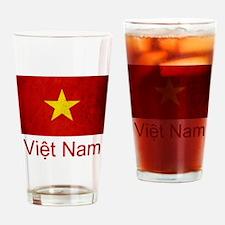 Grunge Vietnam Flag Drinking Glass