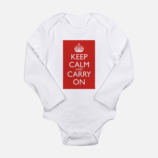 Cute Stay calm and Long Sleeve Infant Bodysuit
