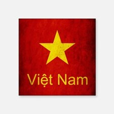 "Grunge Vietnam Flag Square Sticker 3"" x 3"""