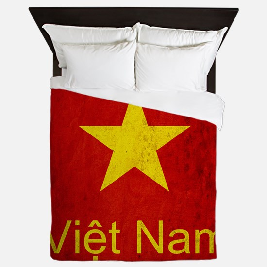 Grunge Vietnam Flag Queen Duvet