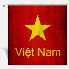 Grunge Vietnam Flag Shower Curtain