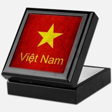 Grunge Vietnam Flag Keepsake Box