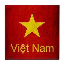 Grunge Vietnam Flag Tile Coaster
