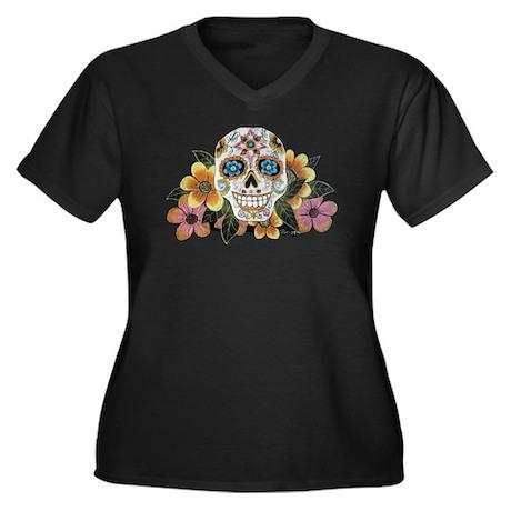 Flower Skull Women's Plus Size V-Neck Dark T-Sh