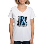 Grunge Prostate Cancer Women's V-Neck T-Shirt