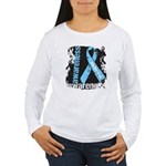 Grunge Prostate Cancer Women's Long Sleeve T-Shirt