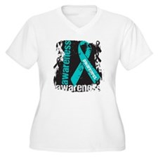 Grunge Ovarian Cancer T-Shirt