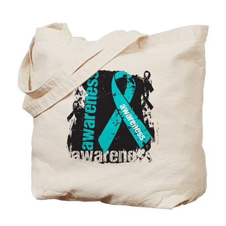 Grunge Ovarian Cancer Tote Bag