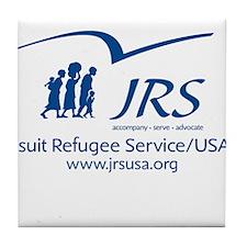 the JRS/USA logo in blue Tile Coaster