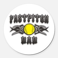 Fastpitch Dad Tribal Round Car Magnet