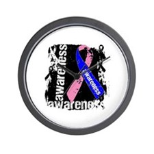 Grunge Male Breast Cancer Wall Clock