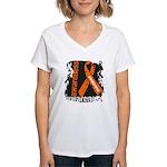 Grunge Leukemia Women's V-Neck T-Shirt