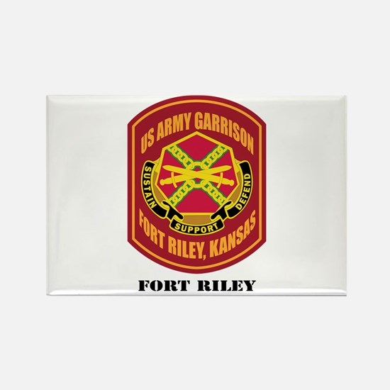 Fort Riley with Text Rectangle Magnet