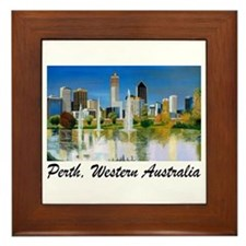 Perth Skyline Painting Framed Tile