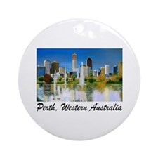 Perth Skyline Painting Ornament (Round)