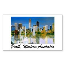 Perth Skyline Painting Rectangle Stickers
