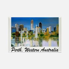 Perth Skyline Painting Rectangle Magnet