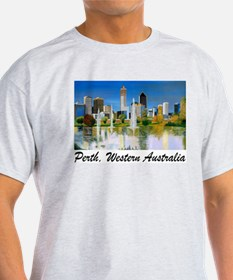 Perth Skyline Painting Ash Grey T-Shirt