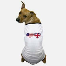 USA and UK Heart Flag Dog T-Shirt