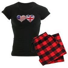 USA and UK Heart Flag Pajamas