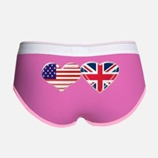 USA and UK Heart Flag Women's Boy Brief