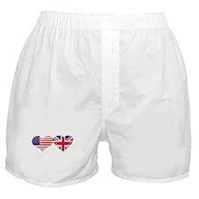 USA and UK Heart Flag Boxer Shorts