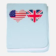 USA and UK Heart Flag baby blanket