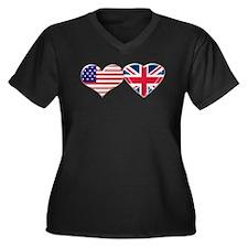 USA and UK Heart Flag Women's Plus Size V-Neck Dar