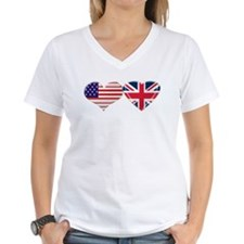 USA and UK Heart Flag Shirt