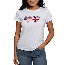 USA and UK Heart Flag Tee