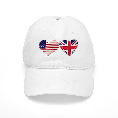 USA and UK Heart Flag Cap