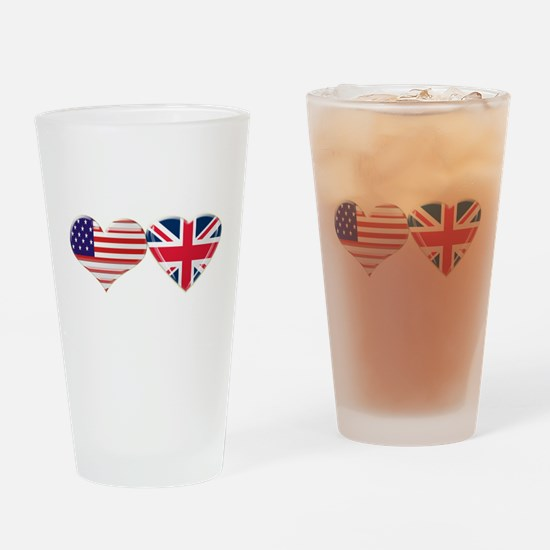 USA and UK Heart Flag Drinking Glass