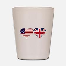 USA and UK Heart Flag Shot Glass