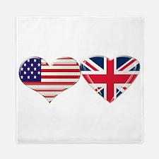 USA and UK Heart Flag Queen Duvet