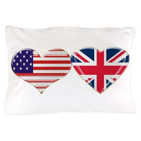 USA and UK Heart Flag Pillow Case