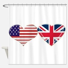 USA and UK Heart Flag Shower Curtain