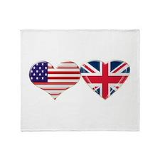 USA and UK Heart Flag Throw Blanket