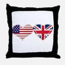 USA and UK Heart Flag Throw Pillow