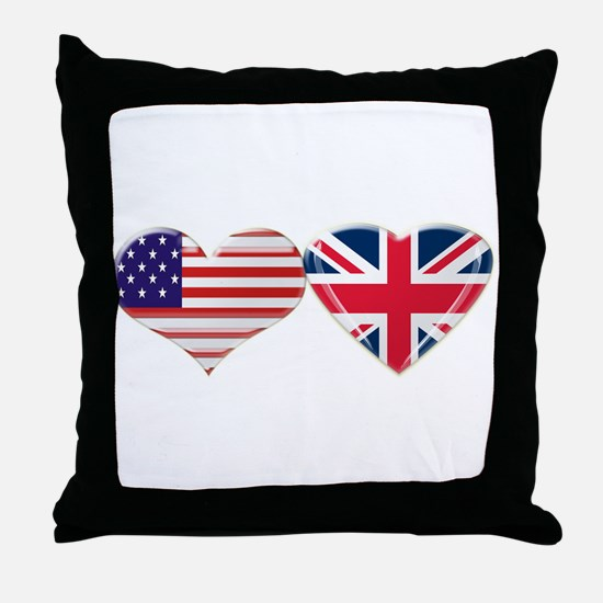 USA and UK Heart Flag Throw Pillow