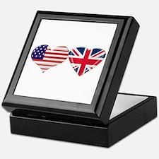 USA and UK Heart Flag Keepsake Box