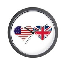 USA and UK Heart Flag Wall Clock