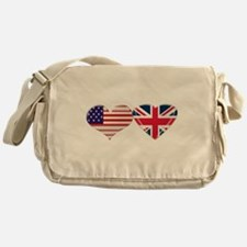 USA and UK Heart Flag Messenger Bag