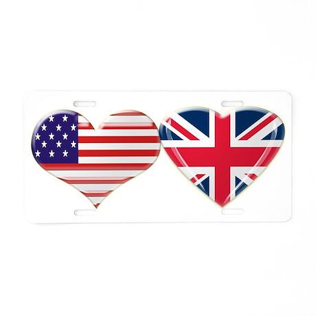 USA and UK Heart Flag Aluminum License Plate