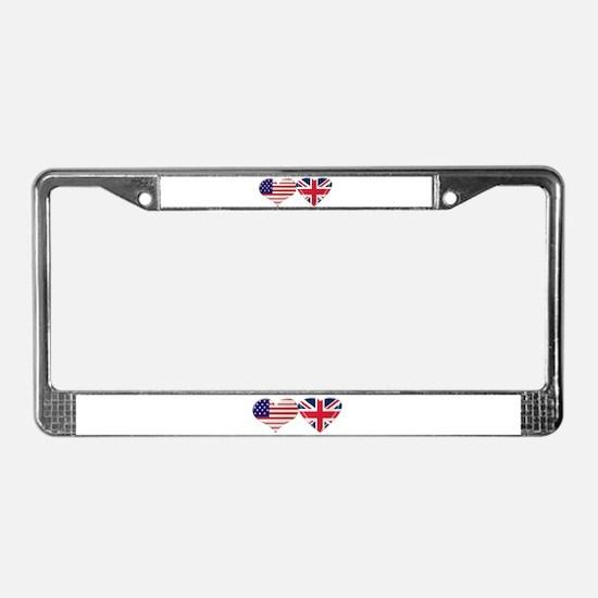 USA and UK Heart Flag License Plate Frame