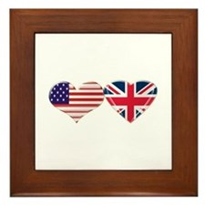 USA and UK Heart Flag Framed Tile