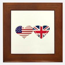 USA and UK Heart Flag Framed Tile