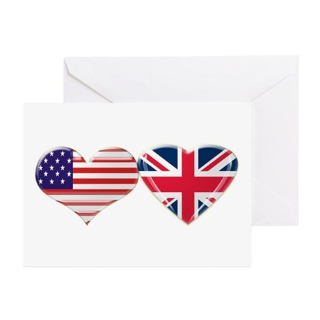 USA and UK Heart Flag Greeting Cards (Pk of 10)