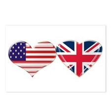 USA and UK Heart Flag Postcards (Package of 8)