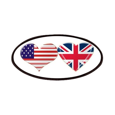USA and UK Heart Flag Patches