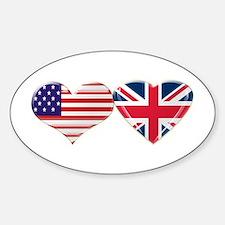 USA and UK Heart Flag Decal